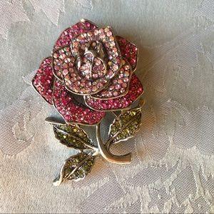 NWOT! Lord & Taylor large rose crystal brooch